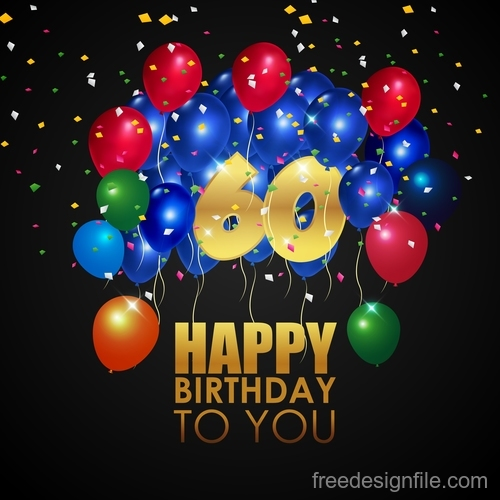 Happy brithday black background with colored balloon vector