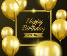 Happy brithday golden frame with golden balloon vector