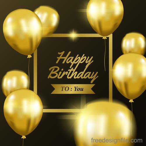 Happy brithday golden frame with golden balloon vector