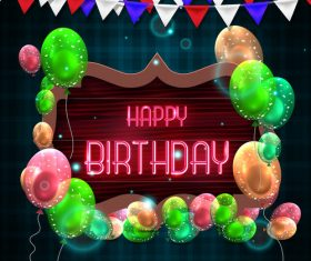 Happy brithday sign board with balloons vector