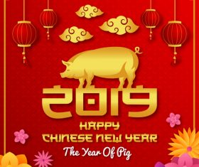 Happy chinese new year of the pig 2019 vector 01