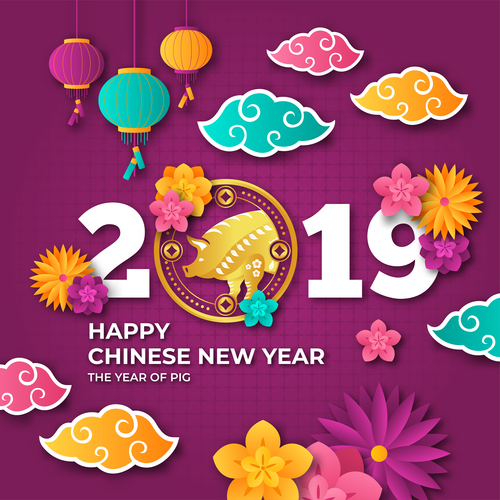 Happy chinese new year of the pig 2019 vector 02