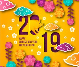Happy chinese new year of the pig 2019 vector 03