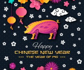 Happy chinese new year of the pig 2019 vector 05