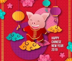 Happy chinese new year of the pig 2019 vector 06