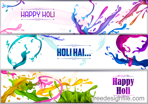 Happy holi banners vector template 01