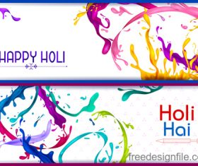 Happy holi banners vector template 02