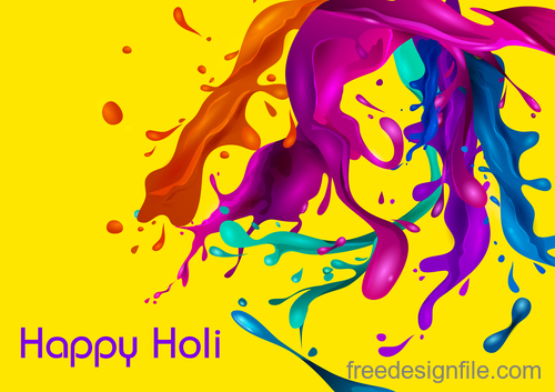 Happy holi festival colorful background vector 02