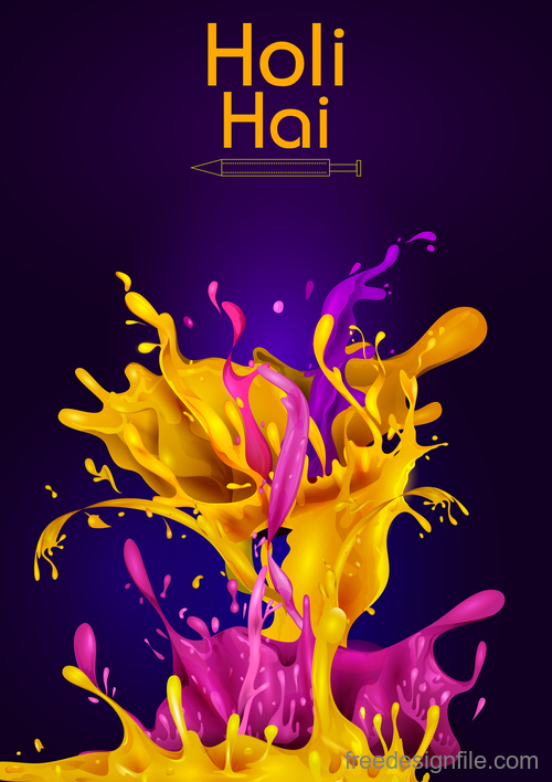 Happy holi festival colorful background vector 05