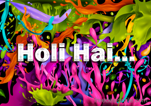 Happy holi festival colorful background vector 06