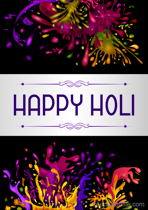 Happy holi festival colorful background vector 07