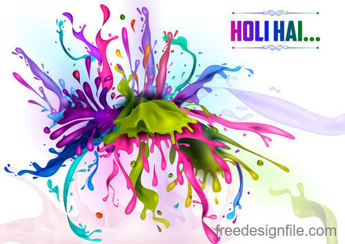 Happy holi festival colorful background vector 08