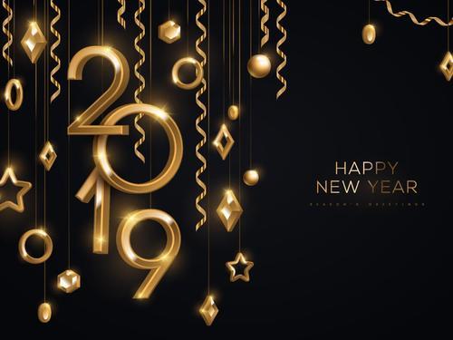 Happy new year 2019 golden decor design vector
