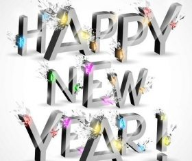 Happy new year 3D design vector