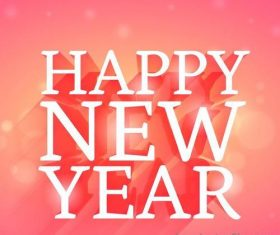 Happy new year pink background vector material