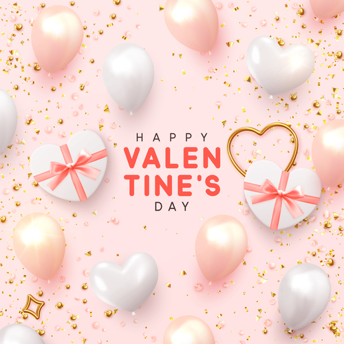 Happy valentines day card pink vector material 01