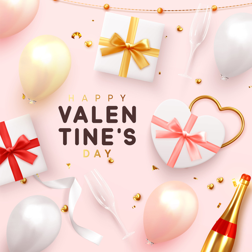 Happy valentines day card pink vector material 02