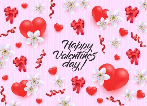 Happy valentines day card with red bows and heart vector