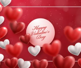 Heart shaped air balloons with valentines day card vectors 01
