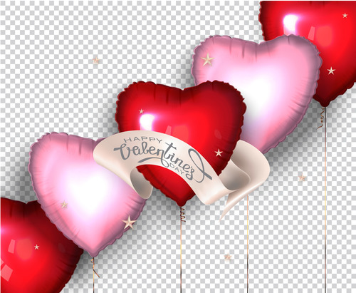 Heart shaped red and pink air balloons vector