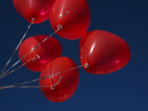 Heart shaped red balloon Stock Photo 01