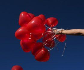 Heart shaped red balloon Stock Photo 02