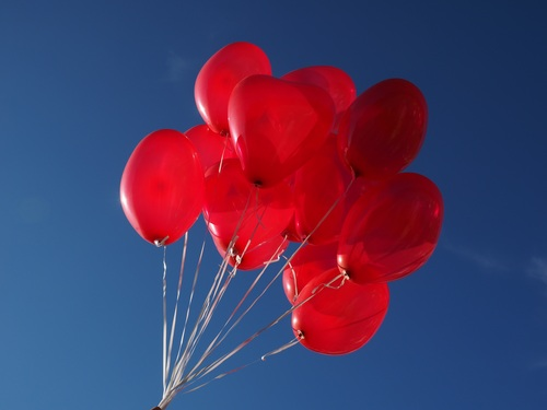 Heart shaped red balloon Stock Photo 04