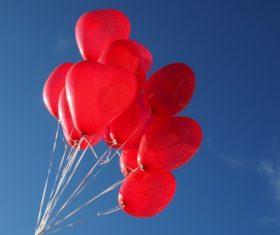 Heart shaped red balloon Stock Photo 05