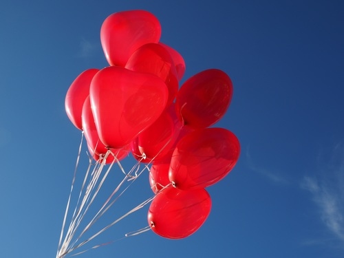 Heart shaped red balloon Stock Photo 05