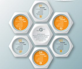 Hexagon structure infographic vectors 01