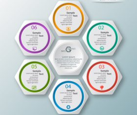 Hexagon structure infographic vectors 02