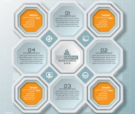 Hexagon structure infographic vectors 03