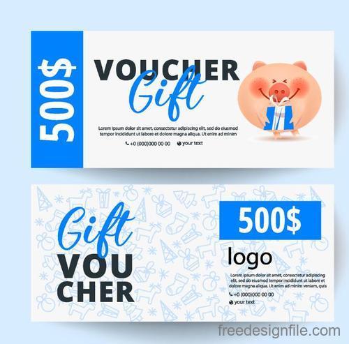 Holiday Gift Voucher Template Vectors 02