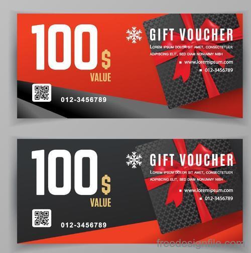 Holiday gift voucher template vectors 03