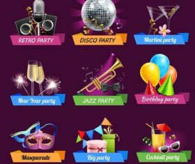 Holiday with birthday party labels design vector