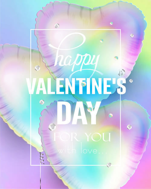 Holographic heart shaped air balloons and sequins vector
