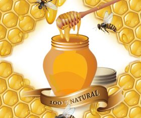 Honey bee creative poster vectors 01