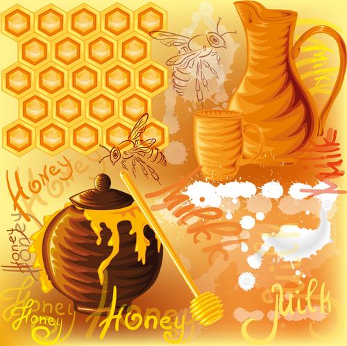 Honey bee creative poster vectors 02