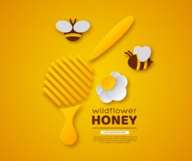 Honey bee creative poster vectors 03