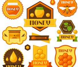 Honey emblems with badge design vector 01