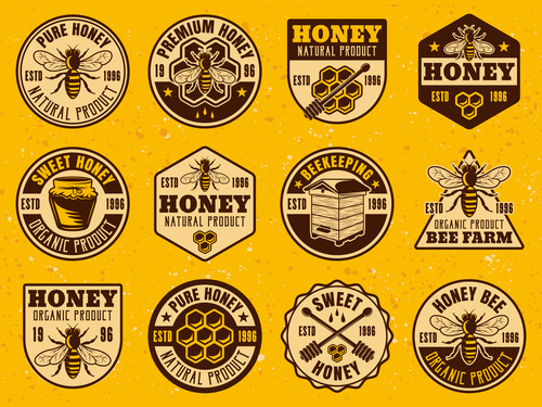 Honey emblems with badge design vector 02