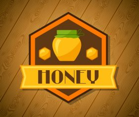 Honey sign with wooden wall vector