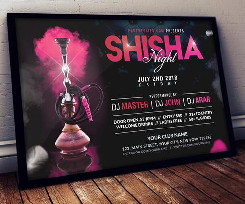 Hookah Night Music Party Poster and Flyer PSD Template