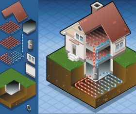 House geothermal 3D model vector 01