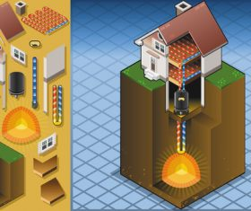 House geothermal 3D model vector 02