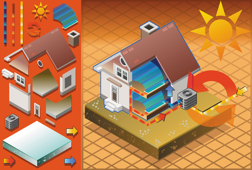 House geothermal 3D model vector 03