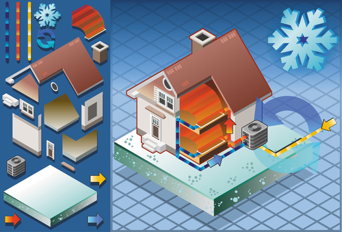 House geothermal 3D model vector 06