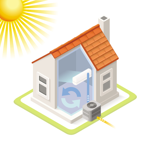 House geothermal 3D model vector 09