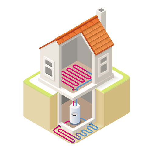 House geothermal 3D model vector 11