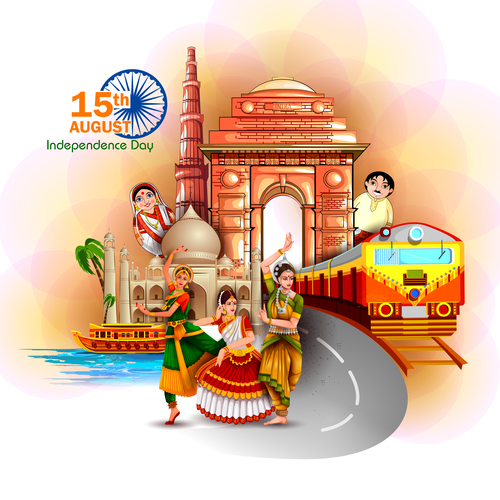 India independence day festvial design vector 03